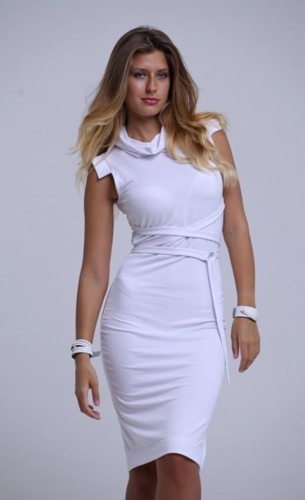 19ade42ee9 Fehér garbós ruha,fémes övvel-PR02   Prémium MZs   - Molnár ...